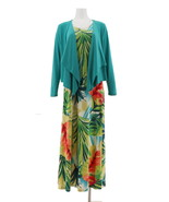 Attitudes Renee Printed Maxi Dress Cardigan Teal Watercolor M NEW A306555 - $30.67