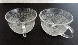 Anchor Hocking Sandwich Pattern Flat Cups Vintage Clear Glass Crystal Lot of 2 - $12.86