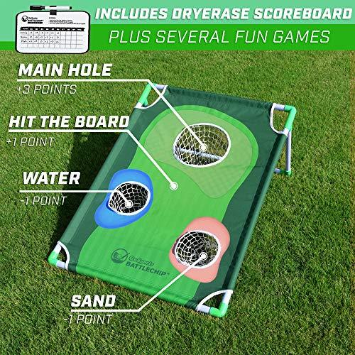 GoSports BattleChip Backyard Golf Cornhole Game   Includes Chipping Target, 16
