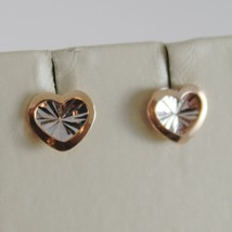 18K WHITE PINK GOLD HEART EARRINGS FINELY WORKED, DOUBLE RAYS STAR MADE IN ITALY image 1
