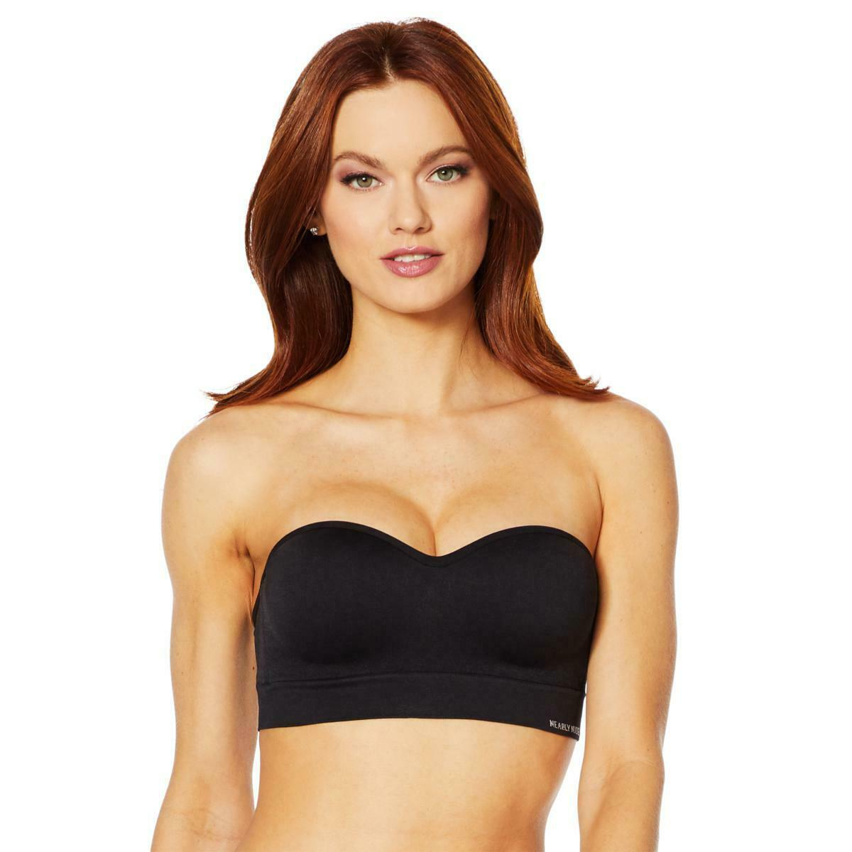 Primary image for Nearly Nude Seamless Bra with Optional Straps in Black, XL (654386) No Tag