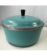 Club Cookware Turquoise Blue Covered Sauce Pan Pot w Lid Vintage Cast Al... - $29.69