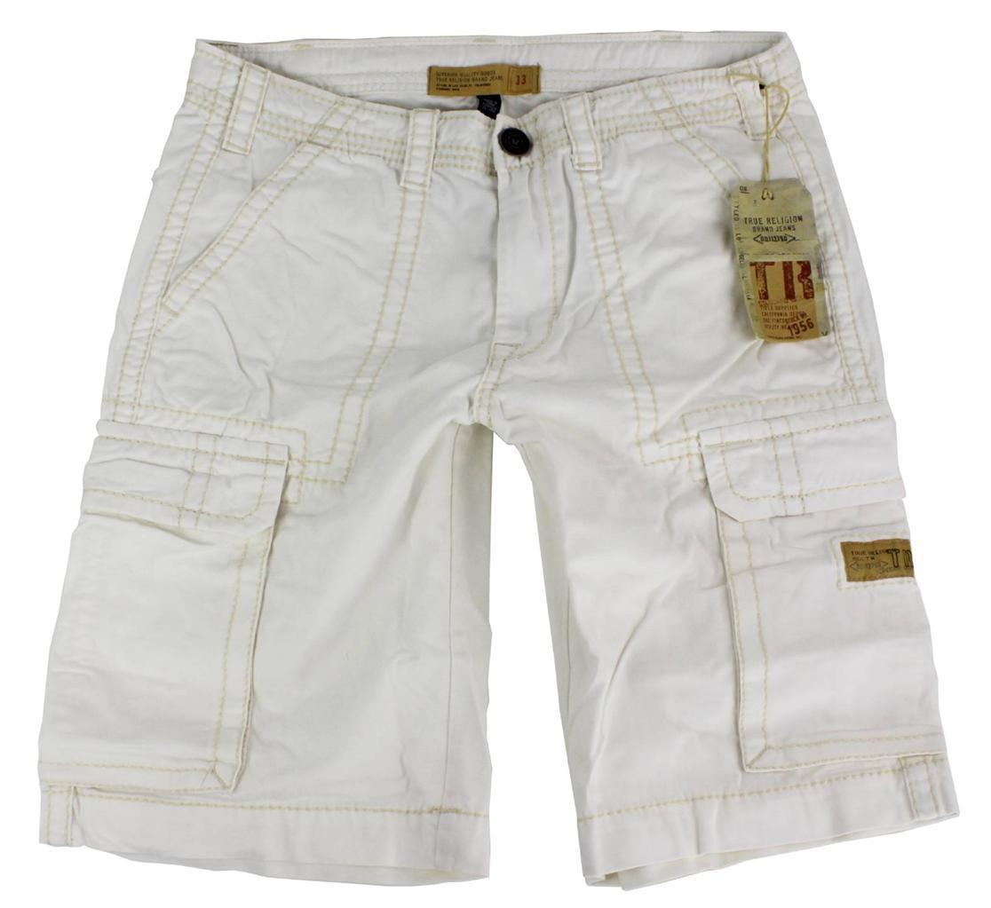 True Religion Men's Isaac Classic Cargo Sport Shorts 6 Pocket Off White