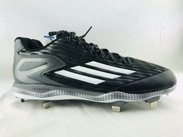 Adidas Baseball Cleats Mens 16 Power Alley 3 Low top Cushion Black White Spike - $72.63