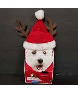 Holiday Time Christmas Costume Dog Puppy Santa Antler Hat and Bell Cuff ... - $14.50