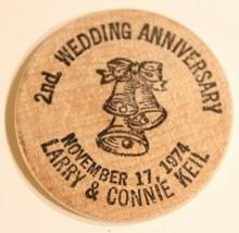 Vintage Wooden Nickel Wedding Anniversary 1974 - $5.93