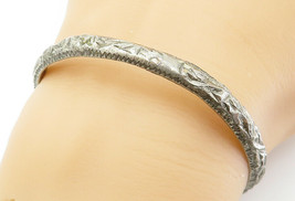 925 Sterling Silver - Vintage Antique Sculpted Round Bangle Bracelet - B... - $70.23
