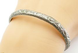 925 Sterling Silver - Vintage Antique Sculpted Round Bangle Bracelet - B... - $70.23