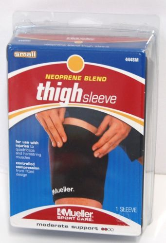 Mueller 444SM Neoprene Blend Thigh Sleeve Moderate Support Small Black