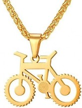 U7 Men Cool Bicycle Jewelry 18K Gold Plated Wheat Chain Bike Pendant Necklaces - $34.16