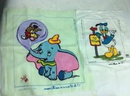 Two Walt Disney Productions  Matsubatu Vintage Embroidered Fabric DUMBO ... - $29.43