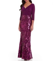 6 ADRIANNA PAPELL Mulberry Shirred Surplice Jersey Sequin Lace Sheath Go... - $87.12