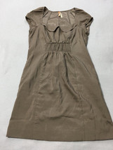 Maeve Anthropologie 8 Tan Peter Pan Collar Smocked Elastic Pocket Dress - $17.99