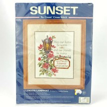 Sunset No Count Cross Stitch Kit 13937 Clematis Lamppost HTF - $19.54