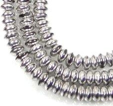 40 pcs Czech Glass Rondelle Beads - Silver 4x2mm - $17.09