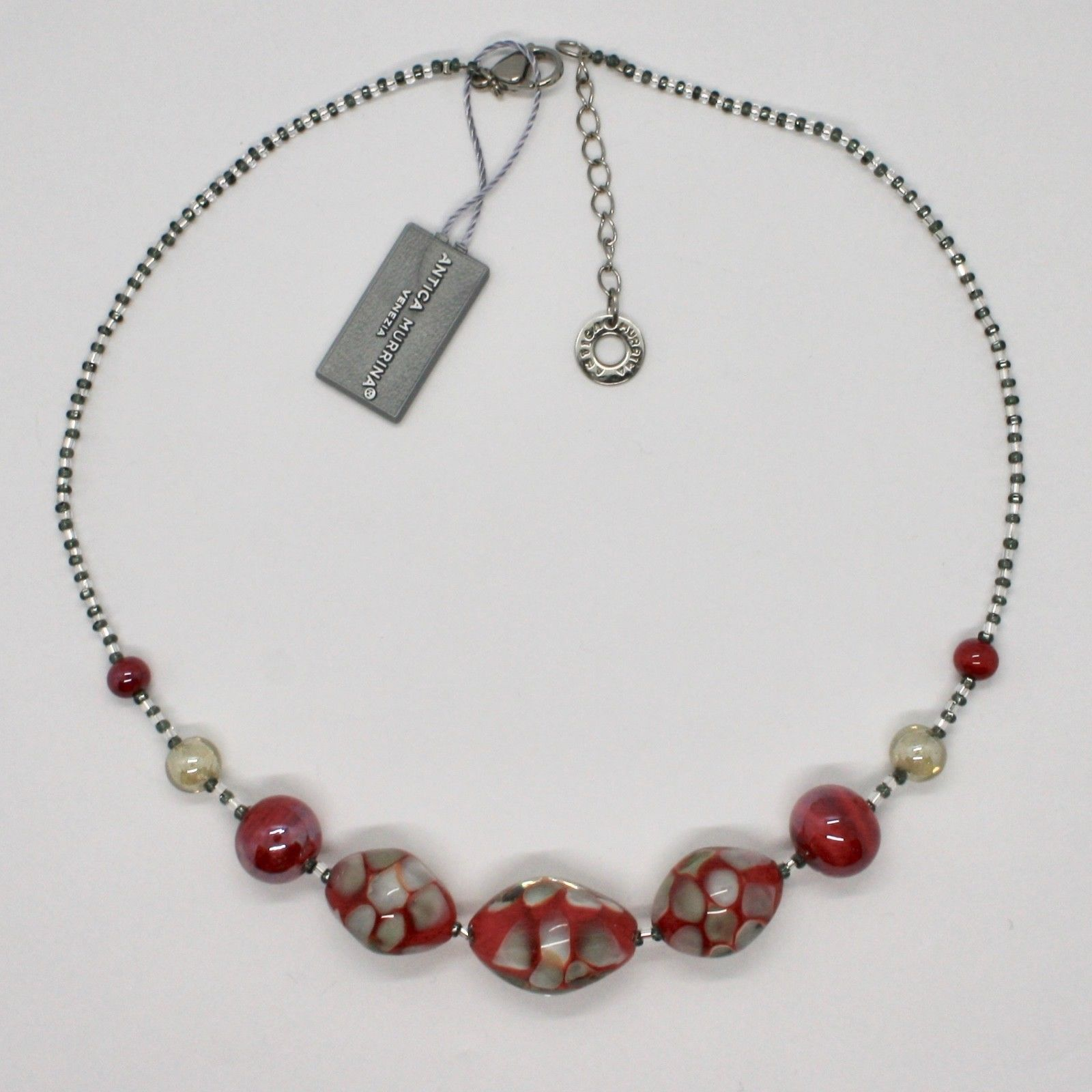 NECKLACE ANTICA MURRINA VENEZIA WITH MURANO GLASS WHITE GREY RED COA11A31