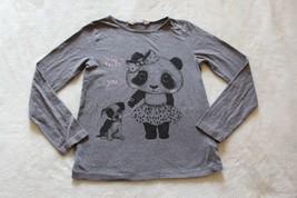 H&M Girls Top Size 6-8 Gray Panda Bear Puppy Hello You Long Sleeve Casua... - $15.83