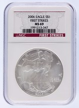 2006 $1 Silver American Eagle Graded by NGC as MS-69 First Strikes - $39.59