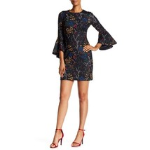 Calvin Klein Womens Black Sheath Dress Bell Sleeve Floral Print Sz 6 NWT - $65.33
