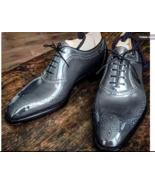 Handmade Men brogue Gray Leather Formal Shoes, Men Designer Oxford Dress... - $164.99