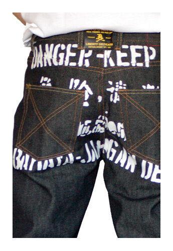 Dissizit! Gefahr 5-pocket Klassische Passform Raw Schwarz / Indigo Jeans Nwt