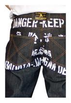 Dissizit! Gefahr 5-pocket Klassische Passform Raw Schwarz / Indigo Jeans Nwt image 1