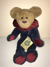 BOYDS BEARS Plush Bear Jointed Brown Head Blue Body Burgundy Collar Striped Nose - $12.59