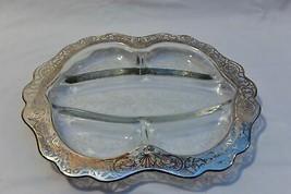 Vintage etched crystal silver filigree relish tray divided platter servi... - $35.28