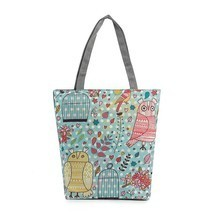 Colorful Owl Printed Canvas Casual Single Shoulder Bags Tote Handbags Be... - $12.18