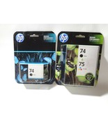 HP #74 #75 Black Color Ink Cartridges Combo CC659FN GENUINE NEW FREE SHI... - $14.82