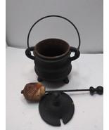 VINTAGE BLACK CAST IRON FIRE STARTER/KETTLE SMUDGE POT AND PUMICE STICK - $99.99