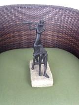 Seated Female Flutist Flute Player Figurine/Statue Stone Base Modern Art... - $29.50