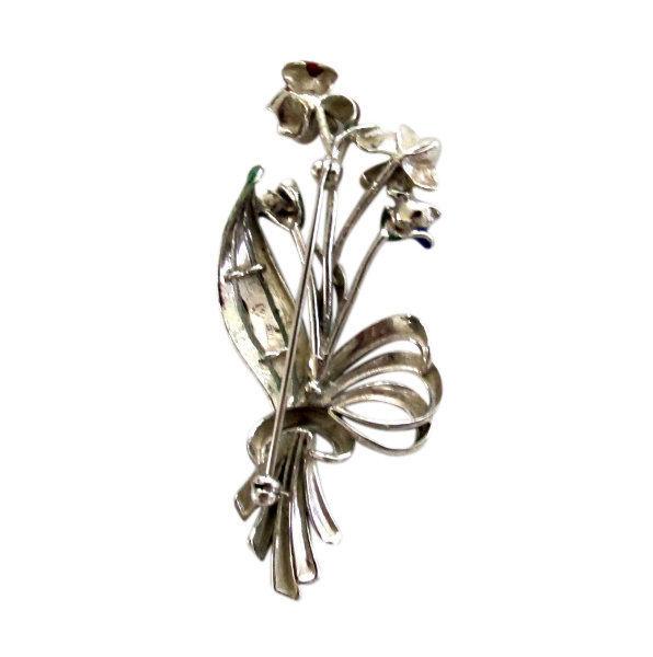 Vintage Mexican Sterling Silver & Enamel Flower Brooch Pin