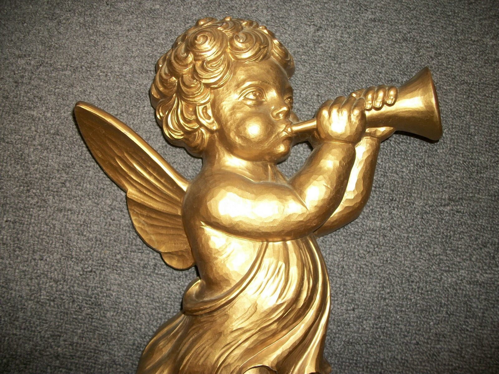 SYROCO Cherub with Horn Wall Hanging # 4775A Gold Tone Vintage '60s