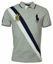 Polo Ralph Lauren Mens Big Pony Custom Slim Fit Crest Polo Shirt, Gray, L 3048-6 - $71.27