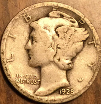 1928 UNITED STATES 10 CENTS MERCURY DIME COIN - $5.29