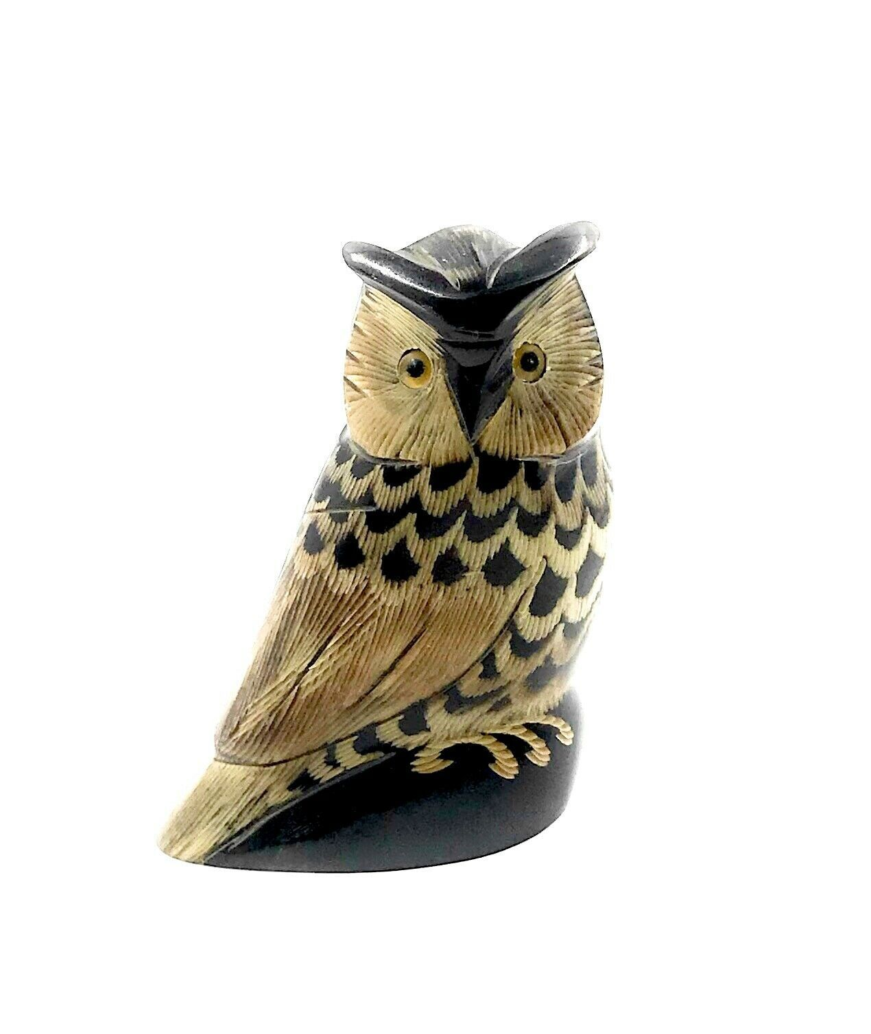 "Primary image for NEW 3.5"" Tall Hand Carved Water Buffalo Horn Scrimshaw Owl"