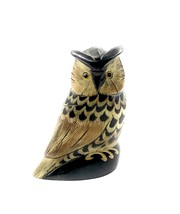 "NEW 3.5"" Tall Hand Carved Water Buffalo Horn Scrimshaw Owl  - $11.88"