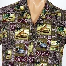 Winnie Fashion Hawaiian Aloha Shirt Medium Tapa Outriggers Woodies Petro... - $20.56