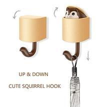 hebensi 4Pcs Adhesive Hooks Cute Cartoon Squirrel Wall Hooks for Kid's Room Livi image 2