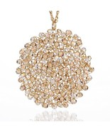 Niumike Hand-Made Circle Crystal Pendant Disc Necklace for Women,Light I... - $15.03