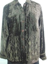 Coldwater Creek Ladies Brown Crushed Velvet Jacket Top Sz M w Embroidery Ribbon - $19.26