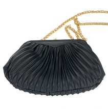 LA REGALE Vintage Black Pleated Cloth Ladies Evening Bag Formal Purse Go... - $21.77