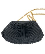 LA REGALE Vintage Black Pleated Cloth Ladies Evening Bag Formal Purse Goldtone - $25.68 CAD