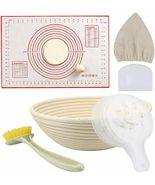 Kitchen Round Banneton Bread Proofing Basket scraper Baking Mat clean br... - $25.98