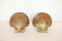 VTG solid BRASS Scallop Clam Shells Book Ends beach nautical PM Craftsma... - $36.62
