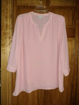 J. JILL orchid pink sheer 3/4 roll up sleeve tunic top sz M woman - $6.92