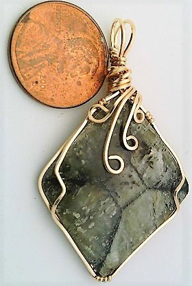 Primary image for Chiastolite Fairy Cross Gold Wire Wrap Pendant 35