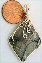 Chiastolite Fairy Cross Gold Wire Wrap Pendant 35 - $44.00