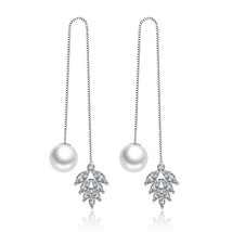 925 sterling silver fashion shiny crystal flower imitation pearl ladies`... - $8.52